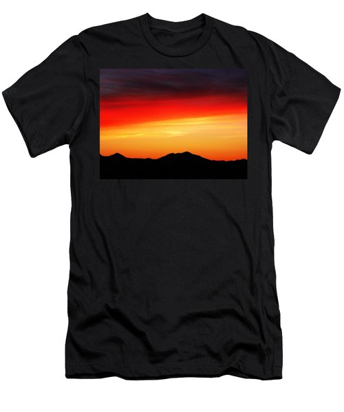 Men's T-Shirt (Slim Fit) featuring the photograph Sunset Over Santa Fe Mountains by Joseph Frank Baraba