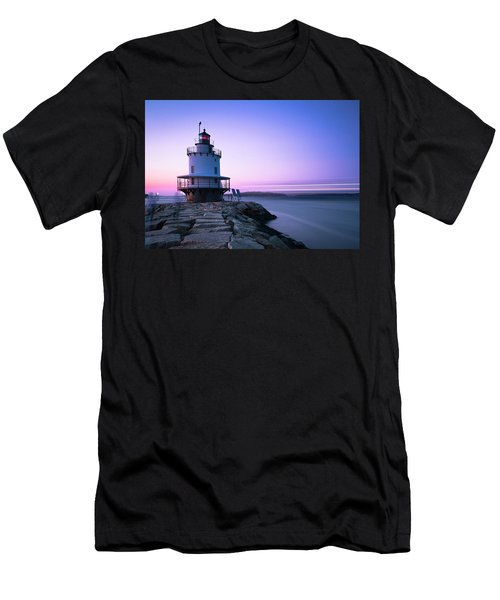 Sunset Over Spring Breakwater Lighthouse In South Maine Men's T-Shirt (Athletic Fit)