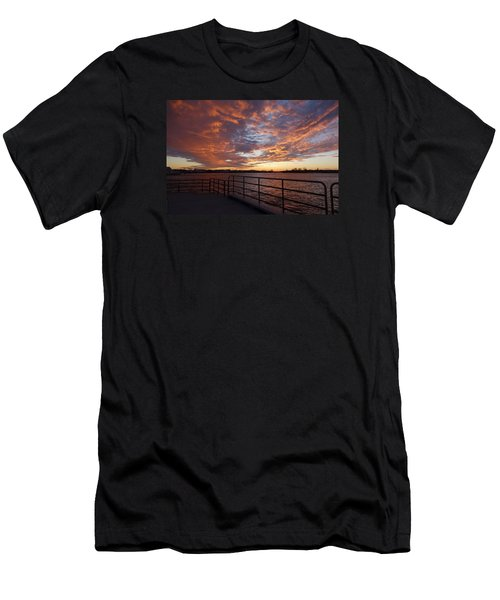 Men's T-Shirt (Slim Fit) featuring the photograph Sunset Over The Manasquan Inlet 2 by Melinda Saminski