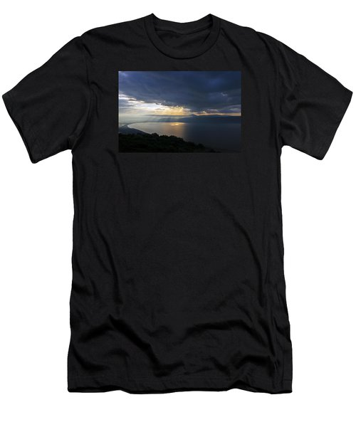 Sunset Over The Sea Of Galilee Men's T-Shirt (Slim Fit) by Dubi Roman
