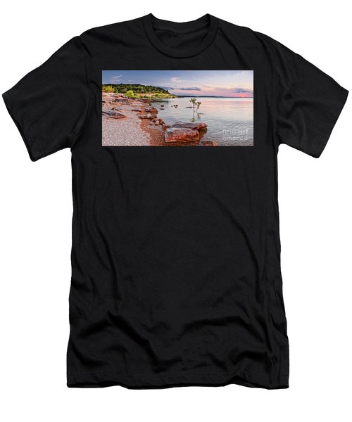Sunset Panorama Of Canyon Lake East Shore New Braunfels Guadalupe River Texas Hill Country Men's T-Shirt (Athletic Fit)