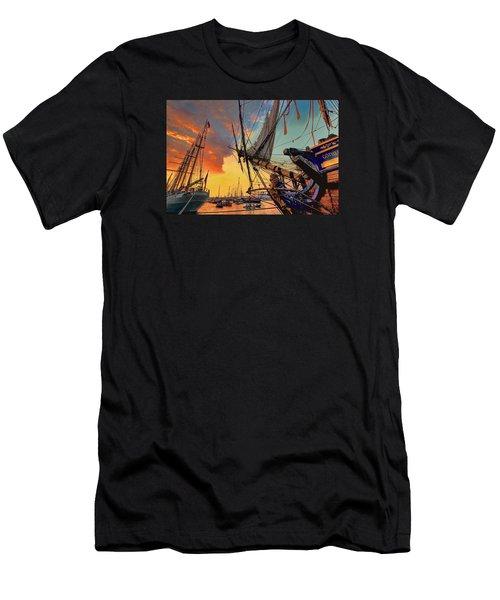 Sunset Sail Men's T-Shirt (Slim Fit) by Nadia Sanowar