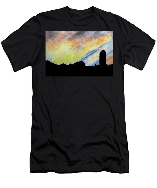 Sunset Silhouetted Farmstead Men's T-Shirt (Slim Fit) by R Kyllo