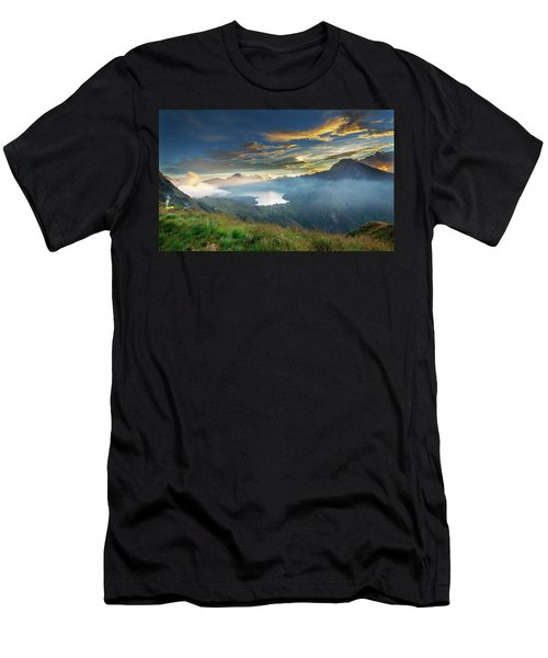 Men's T-Shirt (Athletic Fit) featuring the photograph Sunset View From Mt Rinjani Crater by Pradeep Raja Prints