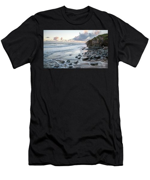 Sunset View In The Distance With Large Rocks On The Beach Men's T-Shirt (Athletic Fit)