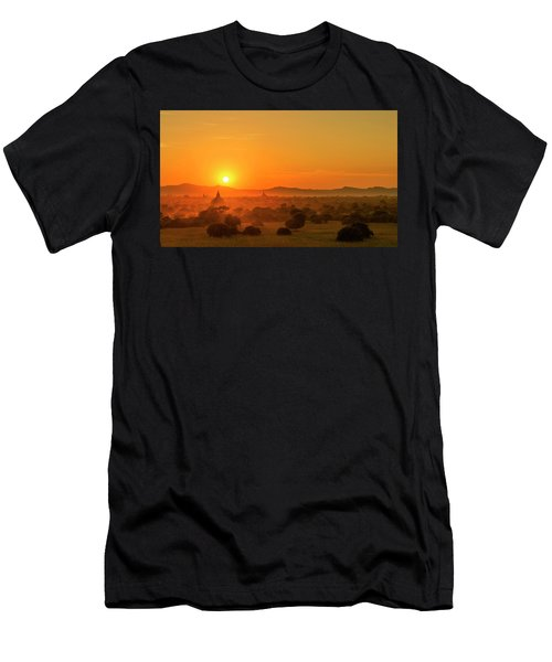 Sunset View Of Bagan Pagoda Men's T-Shirt (Athletic Fit)