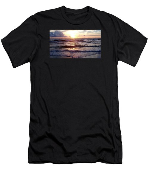 Men's T-Shirt (Slim Fit) featuring the photograph Sunset Waves 1 by Vicky Tarcau
