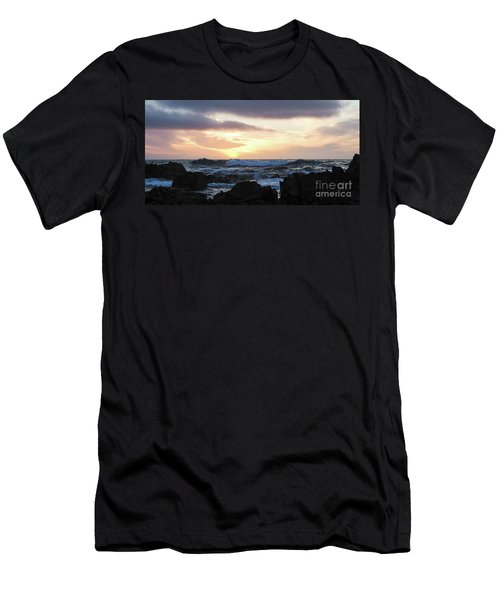 Sunset Waves, Asilomar Beach, Pacific Grove, California #30431 Men's T-Shirt (Athletic Fit)