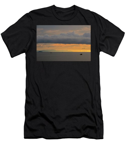 Sunset With Fishing Boats At Sea Men's T-Shirt (Athletic Fit)