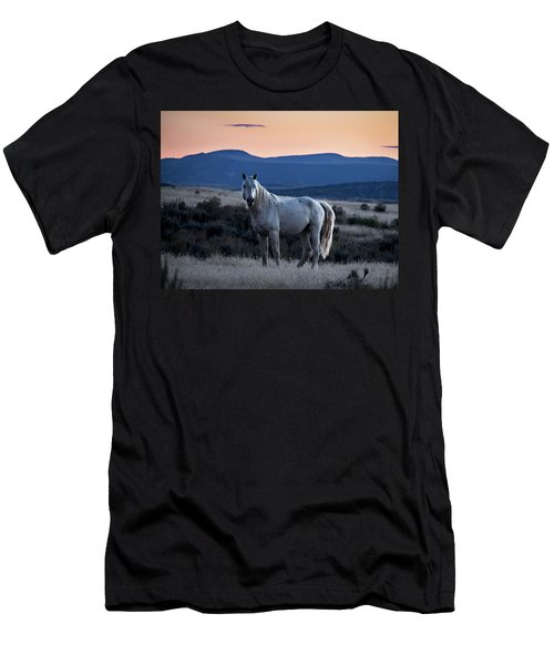Sunset With Wild Stallion Tripod In Sand Wash Basin Men's T-Shirt (Athletic Fit)
