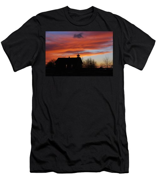 Sunsetting Behind The Historic Schoolhouse. Men's T-Shirt (Athletic Fit)