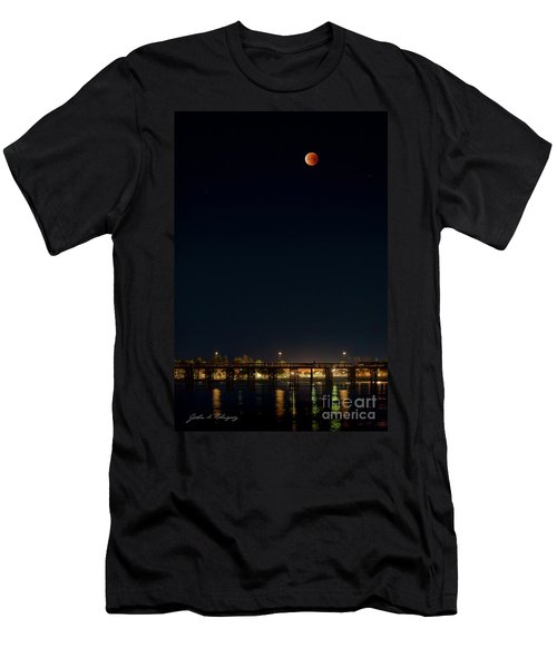 Super Blood Moon Over Ventura, California Pier Men's T-Shirt (Athletic Fit)