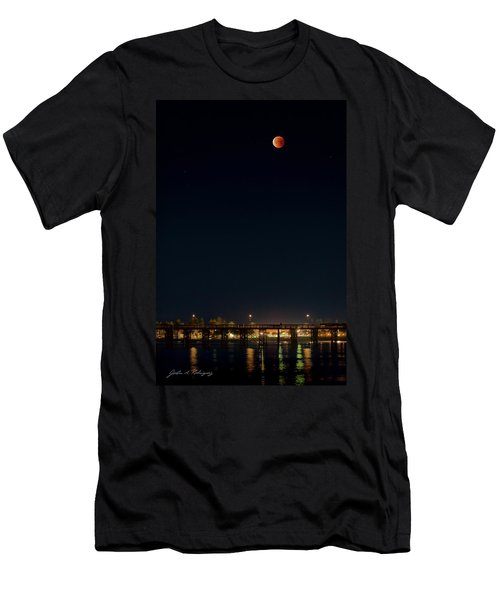 Super Blood Moon Over Ventura, California Pier Men's T-Shirt (Athletic Fit)