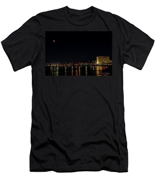 Super Blue Blood Moon Over Ventura, California Pier  Men's T-Shirt (Athletic Fit)