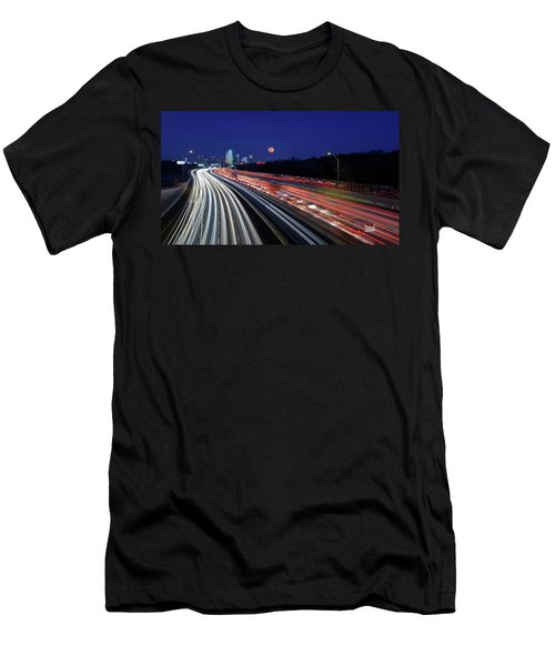 Super Moon And Dallas Texas Skyline Men's T-Shirt (Athletic Fit)