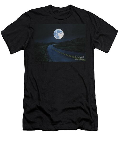 Super Moon At The End Of The Road Men's T-Shirt (Athletic Fit)