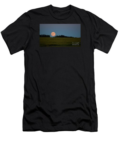 Super Moon Over A Bean Field Men's T-Shirt (Athletic Fit)
