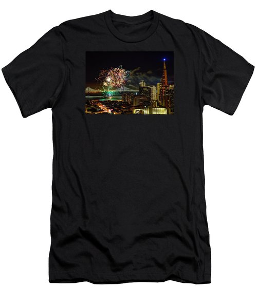 Superbowl 50 Fireworks From Atop Russian Hill Men's T-Shirt (Athletic Fit)