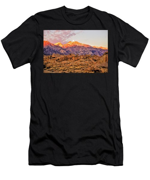 Supermoon Setting At Sunrise Over Mount Williamson In The Sierra Nevada Mountains Men's T-Shirt (Athletic Fit)