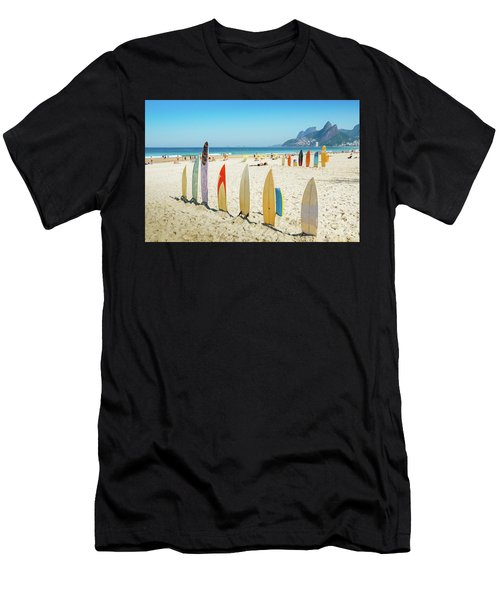 Surfboards On Ipanema Beach, Rio De Janeiro Men's T-Shirt (Athletic Fit)