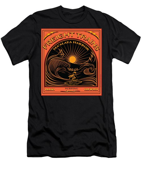 Surfer Freight Trains Maui Hawaii Men's T-Shirt (Athletic Fit)