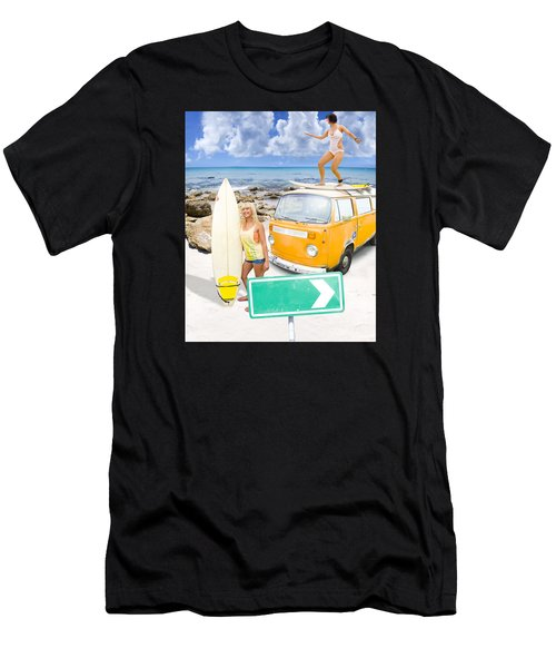 Men's T-Shirt (Athletic Fit) featuring the photograph Surfing Holiday This Way by Jorgo Photography - Wall Art Gallery