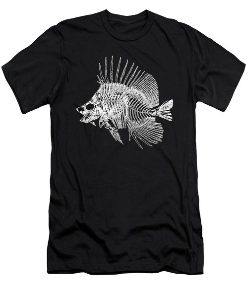 Surgeonfish Skeleton In Silver On Black  Men's T-Shirt (Athletic Fit)