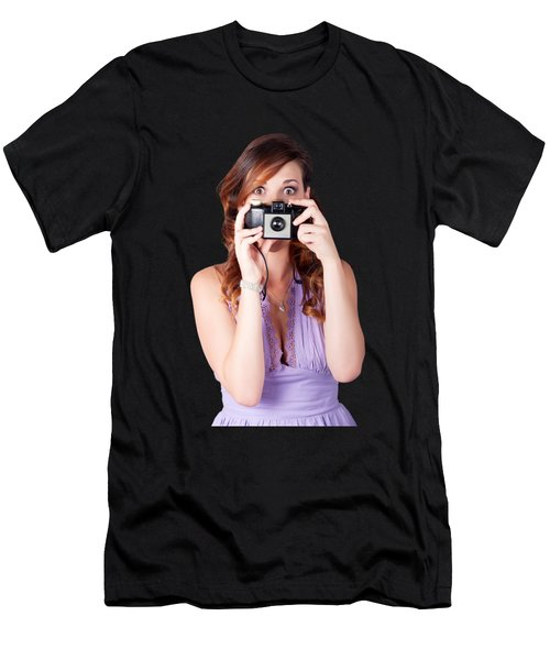 Surprised Woman Taking Picture With Old Camera Men's T-Shirt (Athletic Fit)
