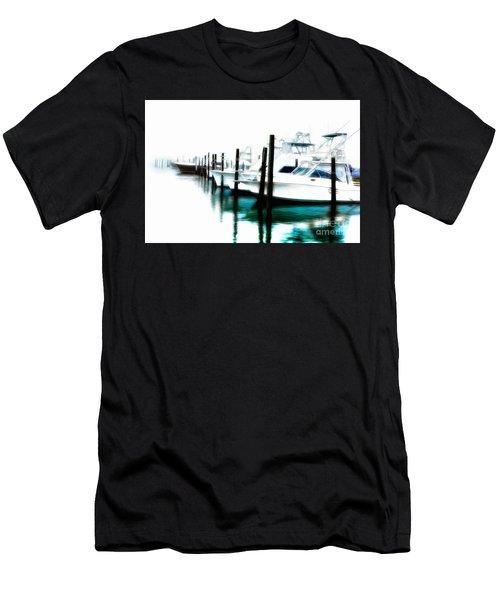 Surreal Fishing Boats In Outer Banks Marina Ap Men's T-Shirt (Slim Fit) by Dan Carmichael
