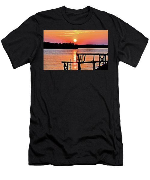 Surreal Smith Mountain Lake Dock Sunset Men's T-Shirt (Slim Fit) by The American Shutterbug Society