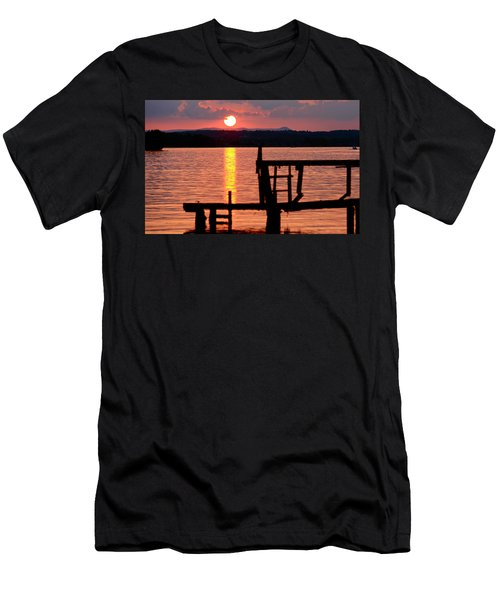 Surreal Smith Mountain Lake Dockside Sunset 2 Men's T-Shirt (Slim Fit) by The American Shutterbug Society