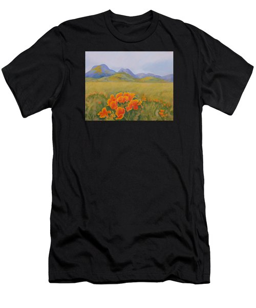 Sutter Buttes With California Poppies Men's T-Shirt (Athletic Fit)
