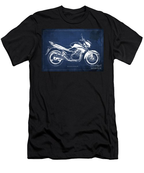 Suzuki Inazuma 250 2012 Blueprint, Christmas Gift For Bikers, Blue Background Men's T-Shirt (Athletic Fit)