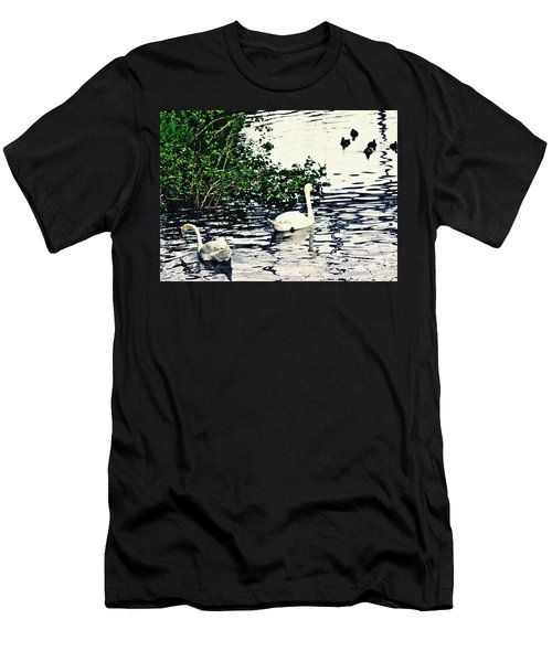 Men's T-Shirt (Slim Fit) featuring the photograph Swan Family On The Rhine 2 by Sarah Loft
