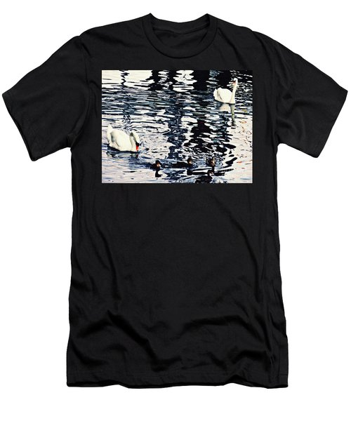 Men's T-Shirt (Slim Fit) featuring the photograph Swan Family On The Rhine by Sarah Loft