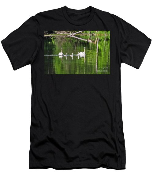 Swan Family With Triplets Men's T-Shirt (Athletic Fit)