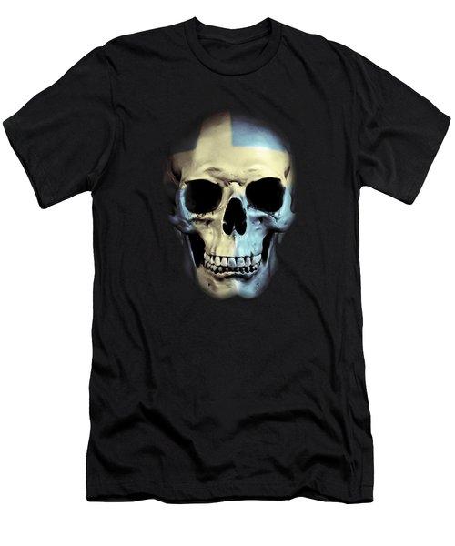 Men's T-Shirt (Slim Fit) featuring the digital art Swedish Skull by Nicklas Gustafsson