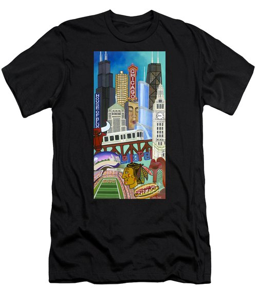 Men's T-Shirt (Athletic Fit) featuring the painting Sweet Home Chicago by Carla Bank