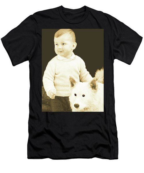 Sweet Vintage Toddler With His White Mutt Men's T-Shirt (Slim Fit) by Marian Cates