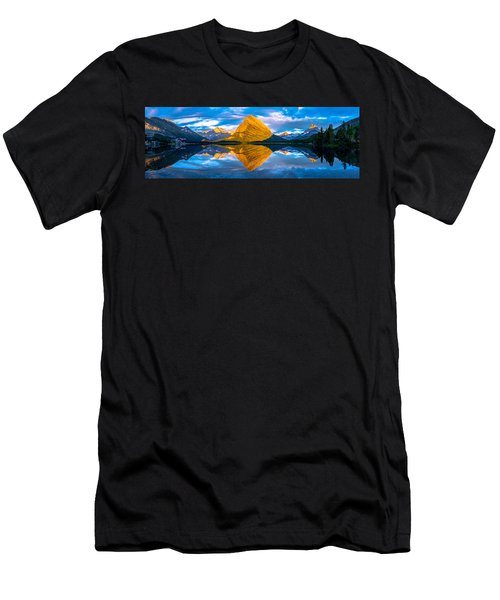 Men's T-Shirt (Athletic Fit) featuring the photograph Swiftcurrent Lake Sunrise Panorama by Dustin  LeFevre