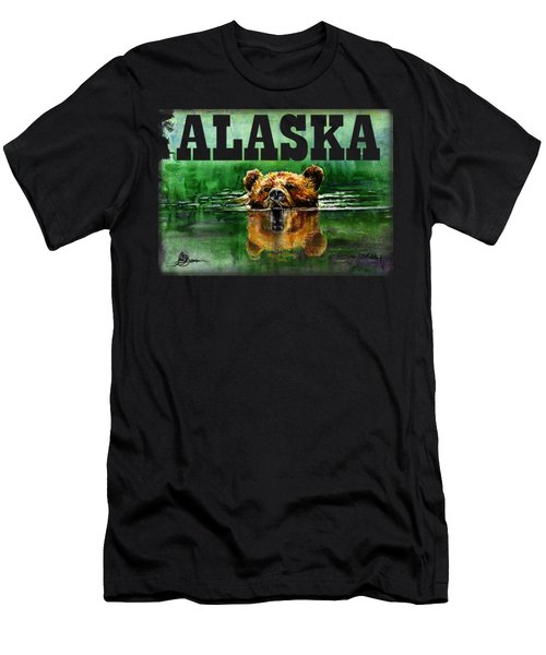 Swiming Grizzly Shirt Men's T-Shirt (Athletic Fit)