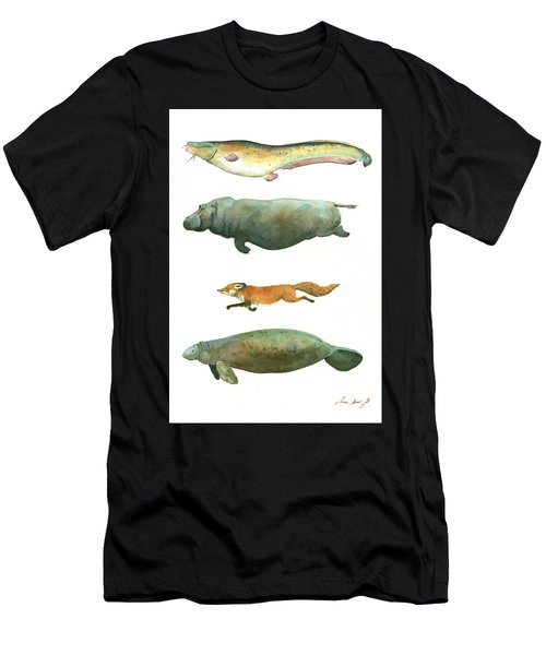 Swimming Animals Men's T-Shirt (Athletic Fit)