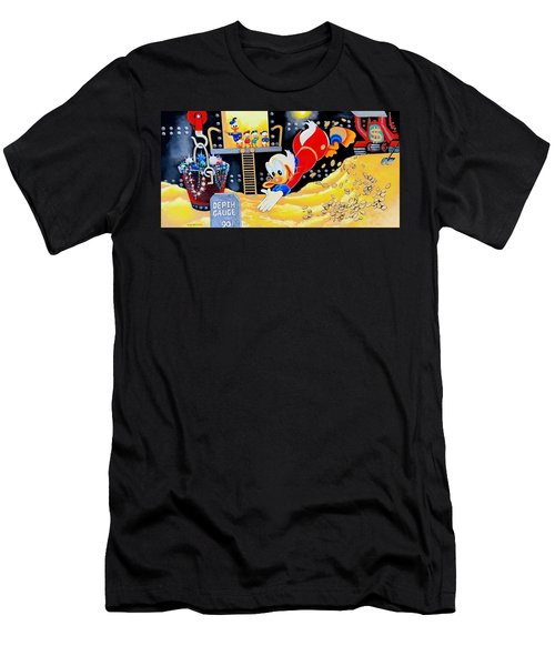 Swimming In Gold Men's T-Shirt (Slim Fit) by Victor Minca