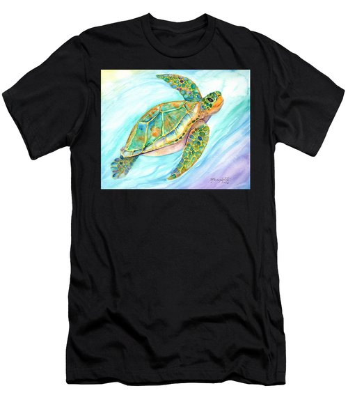 Swimming, Smiling Sea Turtle Men's T-Shirt (Athletic Fit)