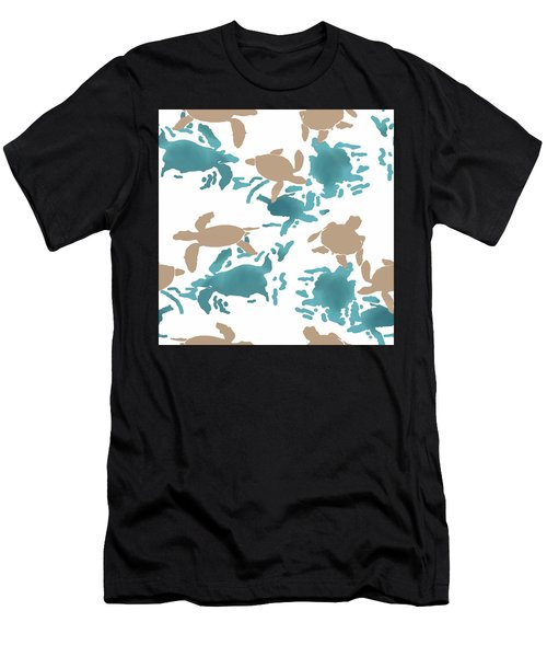 Swimming Turtles Men's T-Shirt (Athletic Fit)