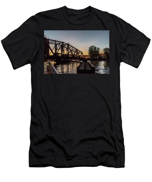 Swing Bridge Sunset Men's T-Shirt (Athletic Fit)