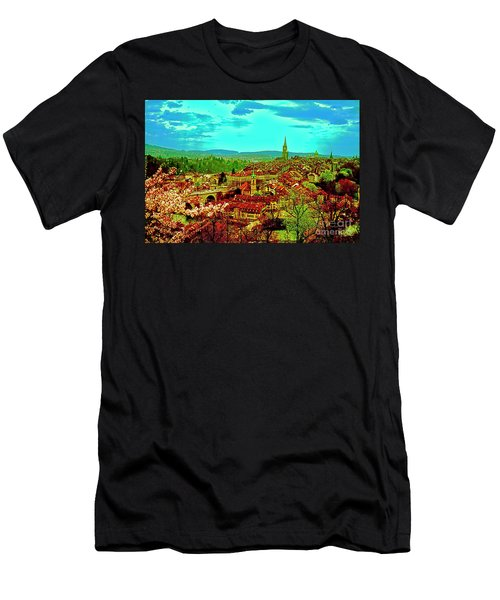 Men's T-Shirt (Athletic Fit) featuring the photograph Switzerland Bern City View Matte Aare River    by Tom Jelen