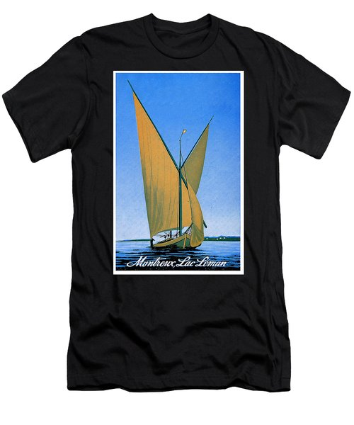 Switzerland, Lake Geneva, Montreux, Sailing Boat Men's T-Shirt (Athletic Fit)