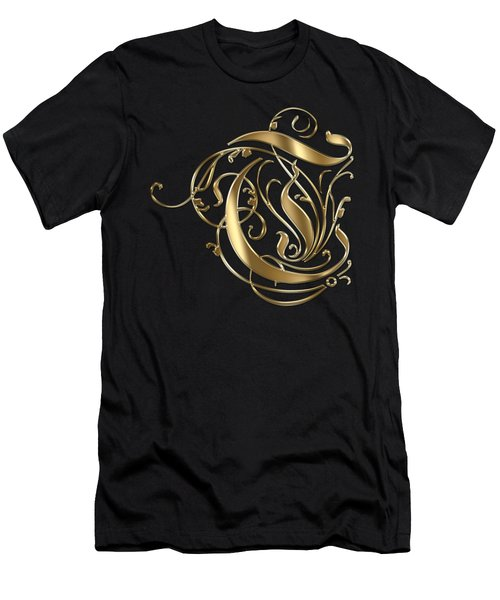 T Golden Ornamental Letter Typography Men's T-Shirt (Athletic Fit)