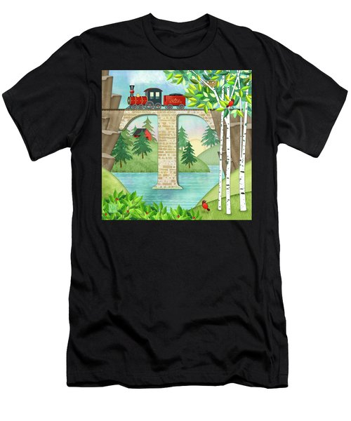 T Is For Train And Train Trestle Men's T-Shirt (Athletic Fit)